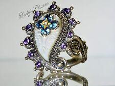 Barbara Bixby MOP Multi-Gemstone Paisley Ring Sterling Silver Size 6.5