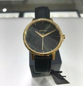 NEW Nixon Kensington Leather Watch Gold Black Womens A108-513-00 Accessories