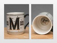 Anthropologie Margot Gold Black Mosaic Tile Monogram M Initial Coffee Mug