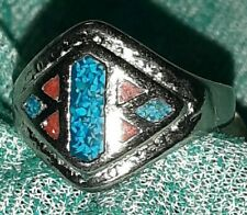 and Red Coral size 8.75 Vintaage Native American 2 Toned Turquoise