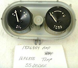 1955 Dodge MOPAR Oil Pressure & Temperature Dash Instrument Gauges