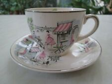 More details for alfred meakin tea cup and saucer in the down by the seine / paris cafe design