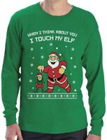 I Touch My Elf Ugly Christmas Sweater Long Sleeve T-Shirt Xmas Gift