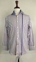 Thomas Dean Mens Medium White Blue Pink striped Long Sleeve Button Front K-62