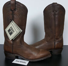 FRYE MENS BILLY PULL-ON LEATHER BOOTS BROWN WESTERN $358 NEW 87689 (SIZE 9.5)