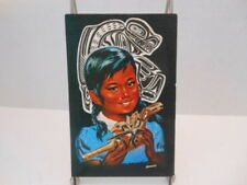 Native American Pacific Northwest Indian Girl w/ Rattle Art-Vintage Postcard