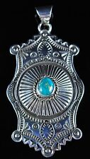Navajo Handmade Sterling Silver Pendant Fox Turquoise Signed By Donovan Cadman