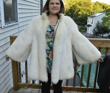 White Fox Fur Jacket Reversible to Leather XL, Coat, soft sable, mink chinchilla