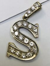 9ct gold Initial S CZ Pendant