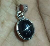 925 Sterling Silver Black Star Diopside Pendant 9 x 11 mm Oval Diopside