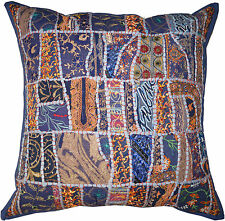"""Blue X Large 24"""" Embroidered Cushion Pillow Cover Throw Indian Bohemian Decor"""