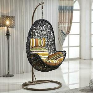 Outdoor Blakc Rattan Hanging Egg Chair Floral Cushion Swing Patio Garden Chair