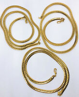 Lot 3 Matching Wide Z Snake Chains Necklaces Heavy Gold Plated Vintage Jewelry