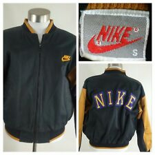RARE 80s Vtg NIKE Full-Zip Black/Gold Color Block Canvas Varsity/Bomber Jacket S