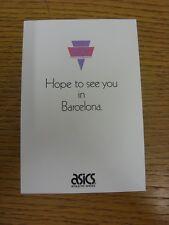 Circa década de 1990 Atletismo: Asics esperamos verlo en Barcelona-Asics Promocional P