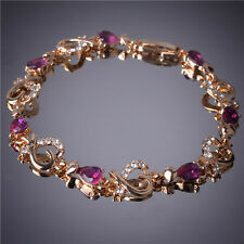 GORGEOUS 18K GOLD PLATED & GENUINE PURPLE CUBIC ZIRCONIA CRYSTAL HEART BRACELET