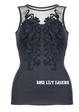 ladies black flock party top size 20 Brand New with tag