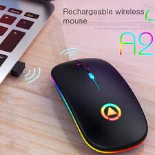 Ergonomic Wireless Mouse Rechargeable Silent LED Backlit Portable Cute Mini Mice