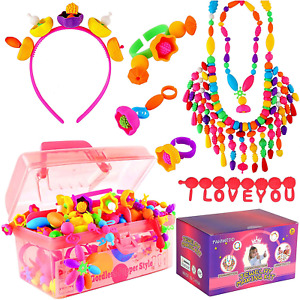 Snap pop Beads Toys For Girls Jewelry Making Kit for Kids Gift Age 3-5 DIY Arts