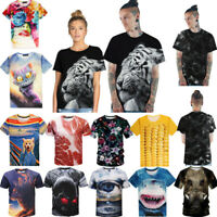 3D Vision Printed Stylish Men's T-Shirts Clothing Casual Short Sleeve Silk Tops