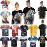 3D Vision Printed Stylish Men's T-Shirts Clothing Casual Short Sleeve Silk Tops