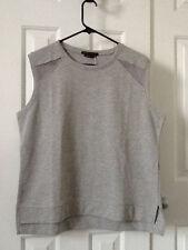 Bcbg grey Casual Top Mesh Nwt Size Large Sleeveless Professional Shirt New