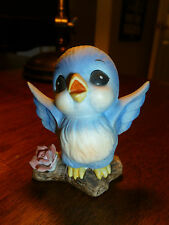 Vintage Bluebird Figurine - Blue Bird Figurine - Wings Spread on Branch