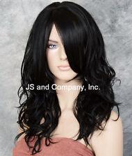 Striking Wavy wig Long HEAT SAFE WIG w. Bangs Jet Black WBSY 1