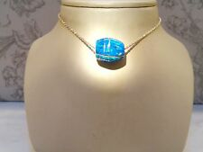 Chubby THICK Large Bright Blue FIRE OPAL Bead PENDANT European Bracelet $240