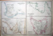 AUSTRALIA,WESTERN,SOUTH,NORTH & TASMANIA, Antique Map 1860