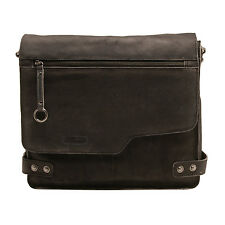 Ashwood - Antique Black Distressed Cow Vintage Leather Camden Messenger Bag