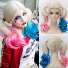 Harley Quinn Wig for Cosplay Synthetic Hair Pink Blue Curly Costume Full Long