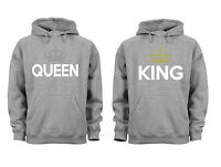 Couples Matching Hoodies King Queen Matching Couple soft Grey Unisex S-6X