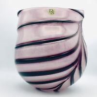 "DS Blown Art Glass Vase Purple Applied Glass Feather Swirl Design Heavy 9"""
