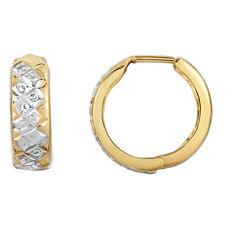 10k Yellow and White Gold Two-Tone Diamond Cut Reversible Huggie Hoop Earrings