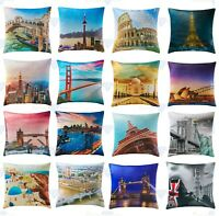 "Luxury Digital Print Plush Velvet World City Theme Cushion Covers 18"" x 18"""