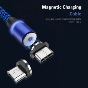 1M/2M Nylon Magnetic Charger Charging Cable Micro USB/Type C Plug For Android