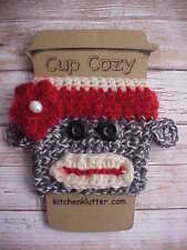 Sock Monkey Handmade Wool Crochet Coffee To Go Cup Mug Sleeve Cozy Sweater Cute!