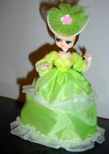 70th Antique-Big Eye Doll Girl In Green Dress W/Lace Hard to Found-Made In.Korea