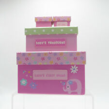 Gift for Shower New Baby Girl Pink Boxes store memories 1st Tooth Curl & Shoes