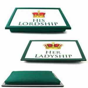 His Lordship   Her Ladyship Cushioned Bean Bag Laptray   TV Bed Serving Tray