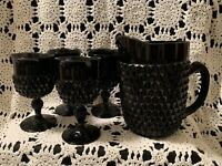 """Vintage Indiana Glass~Black Diamond Point """"Tiara""""~Pitcher & 4 Pedestal Tumblers"""