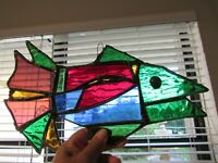 Vintage Handmade Stained Glass Fish 1950's 12 1/2""