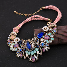 Retro Sapphire Flower Women Elegant Fashion Pendant Necklace Chain Crystal