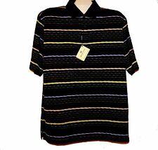 Bugatchi Uomo  Black Stripes Men's Cotton Polo T-Shirt Size L NEW