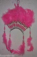 Indianer Kopfschmuck Indianerfedern Indianerschmuck 32cm Federn rosa Deko Wand