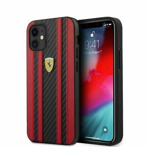 Ferrari® PU Leather On Track Carbon Effect Case for iPhone 12 mini Red