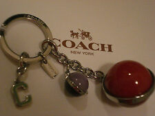 COACH COH ORBIT BALL CHARM IN MULTI-COLOR SILVER KEY CHAIN KEY RING FOB - 65160