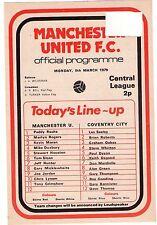 1978/9 Man Utd V COVENTRY CITY programma di riserva