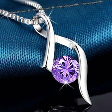 Silver Necklace & Purple Crystal Moon Love - Xmas Jewellery Gifts For Her Women